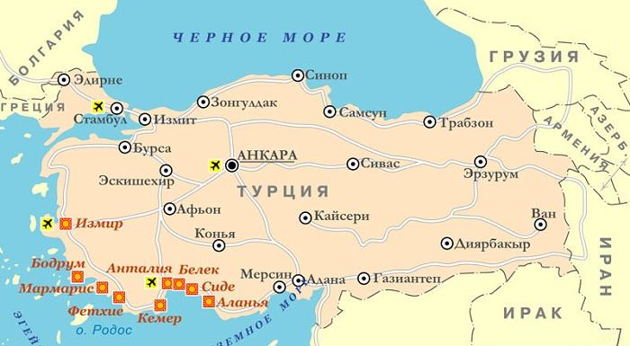 Karta Kurortov Turcii Na Russkom Yazyke Atribut Kazhdogo Turista